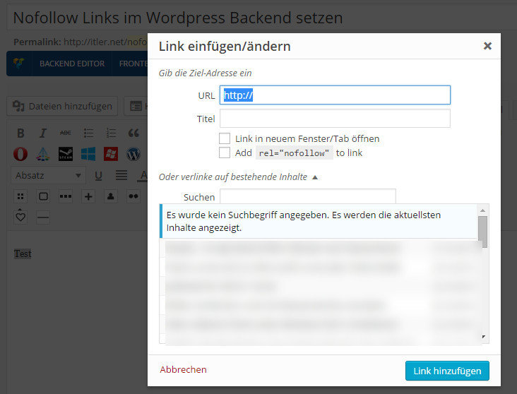 how to add nofollow link in wordpress