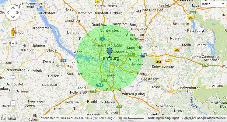 Maps Radius Einzeichnen