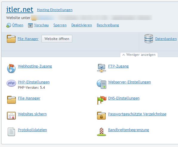 Plesk-Webserver-Einstellungen
