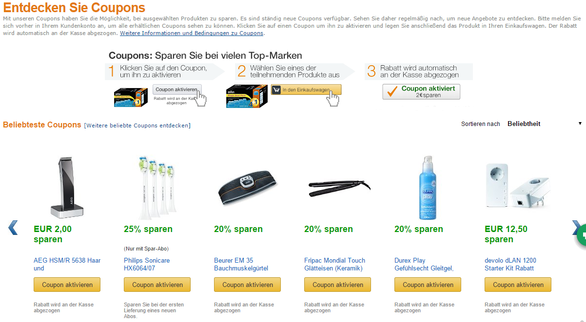 rabatt coupons amazon
