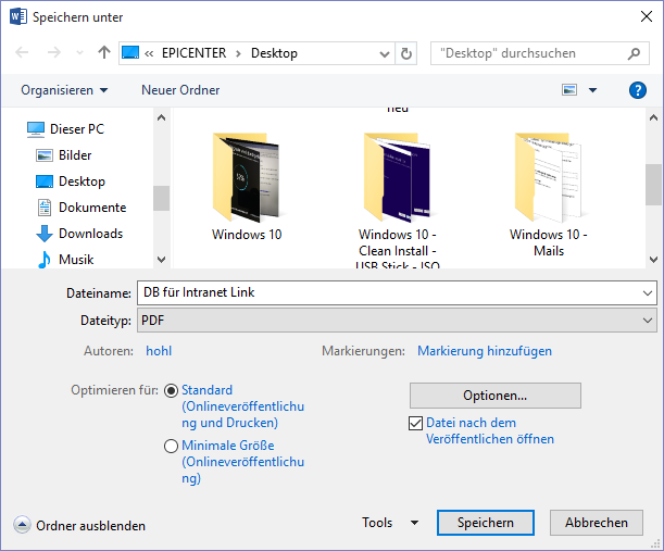 save word as pdf with links