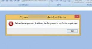 Excel - Bei der Weitergabe des Befehls ist ein Fehler aufgetreten-1