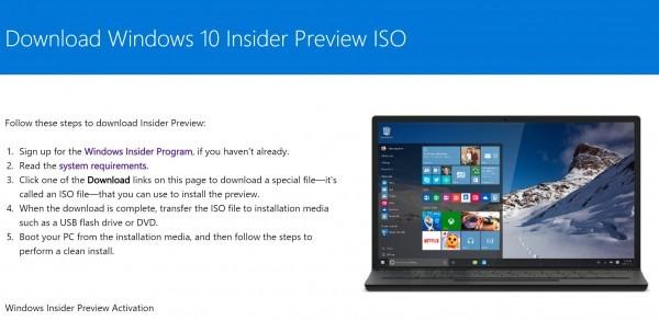 Windows 10 - ISO Download der Insider Version