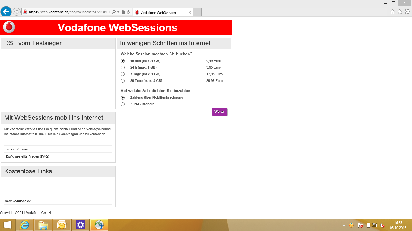 vodafone websessions wird ge ffnet statt zugriff ins internet. Black Bedroom Furniture Sets. Home Design Ideas