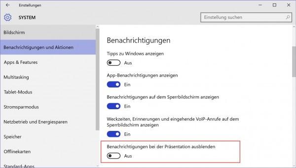 Windows 10 - Nicht stören bei Präsentationen