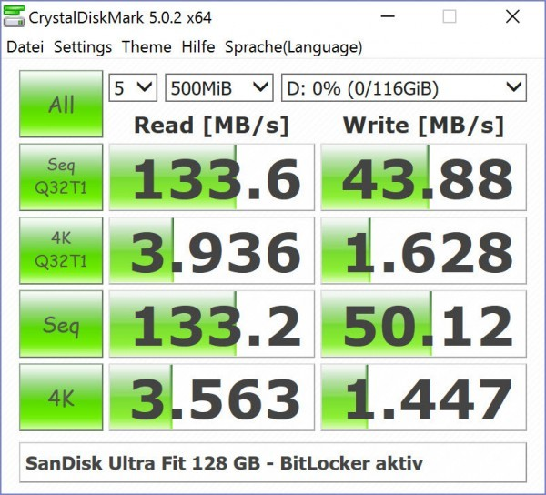 SanDisk Ultra Fit 128 GB - USB 3.0 Flash Drive - Speedtest - BitLocker