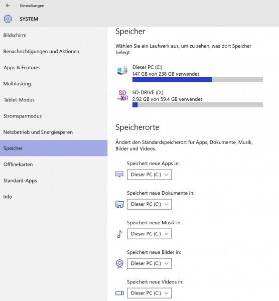 Windows 10 - Apps und Daten auf externes Medium auslagern