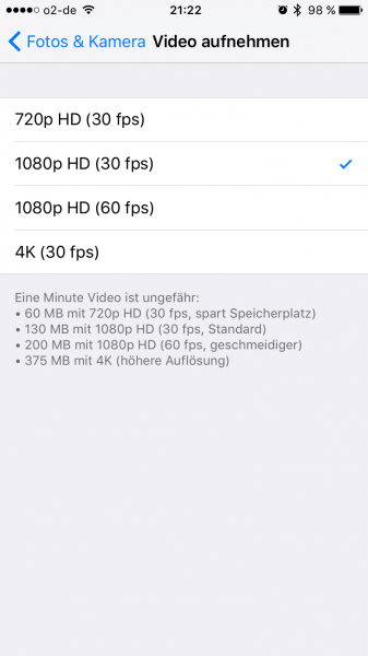 iPhone 4K Videos aktivieren (2)