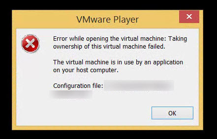 VMware Player - This virtual maschine appears to be in use -2