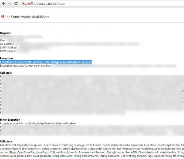 OWA - Ihr Konto wurde deaktiviert - Outlook öffnet nicht-1
