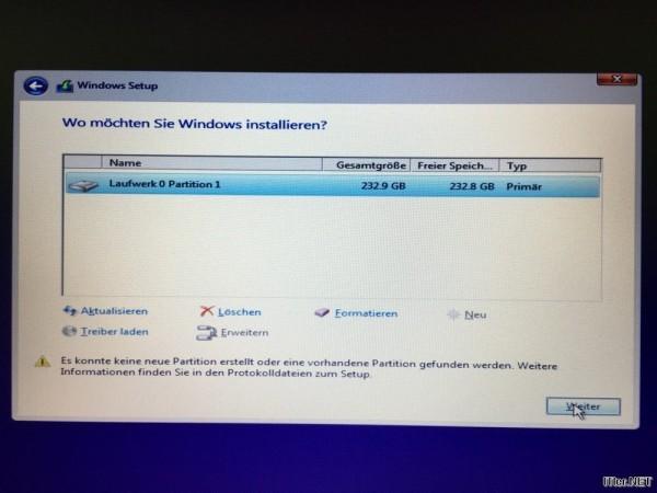 Windows Installation - Es konnte keine neue partition erstellt oder eine vorhandene Partition gefunden werden (1)